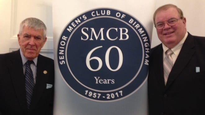Malcolm Hendy (left) of the Senior Men's Club invited Jim Brandstatter to speak to the group. Brandstatter talked about his career as a football player for the University of Michigan and his broadcasting career.