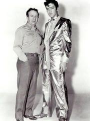 Nudie Cohn and Elvis Presley in the legendary 24-karat gold suit Nudie created.
