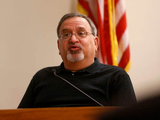 Joseph Blair, Michelle Lodzinski's stepbrother, testifies Tuesday during her murder trial. Lodzinski is charged with the murder of her 5-year-old son, Timothy Wiltsey, more than 20 years ago. The trial is before Superior Court Judge Dennis Nieves at the Middlesex County courthouse in New Brunswick.