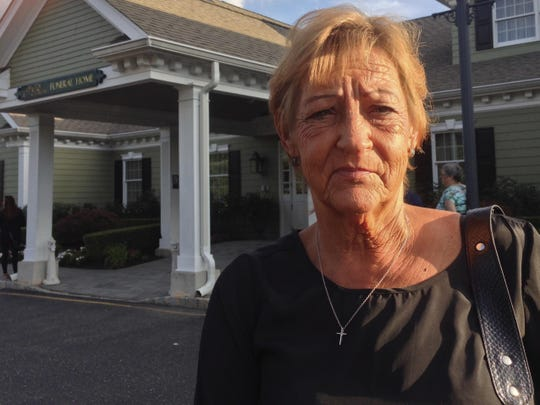 Dale Friedel, aunt of Julian Hoffman, outside the funeral home on Thursday.