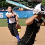 Juliana Rich of Horseheads delivers a pitch tp a Corning batter during Wednesday's Section 4 Class AA semifinal. The Blue Raiders won, 10-6.