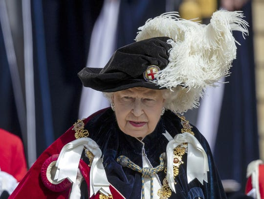 Queen Elizabeth II leaves St George's Chapel after