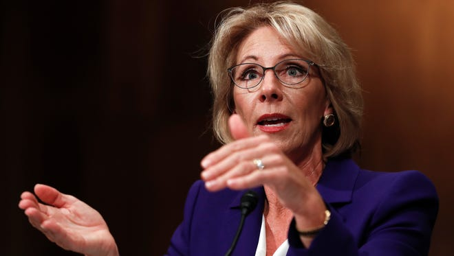 Education Secretary Betsy DeVos testifies on Capitol Hill in Washington, Tuesday, Jan. 17, 2017.