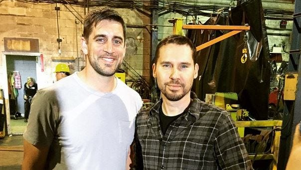 "Aaron Rodgers and ""X-Men: Apocalypse"" director Bryan Singer."