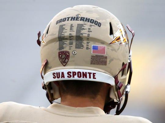"A look at the ASU ""Brotherhood"" helmets before Saturday's game."