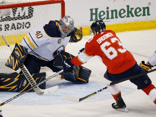 Florida Panthers right wing Evgenii Dadonov (63) attempts a shot at Buffalo Sabres goaltender Robin Lehner (40) during the third period of an NHL hockey game, Friday, March 2, 2018, in Sunrise, Fla. (AP Photo/Wilfredo Lee)