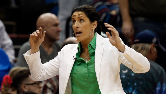 Indiana Fever head coach Stephanie White coaches in the second half in Game 1 of the WNBA basketball finals against the Minnesota Lynx, Sunday, Oct. 4, 2015, in Minneapolis.  (AP Photo/Jim Mone)