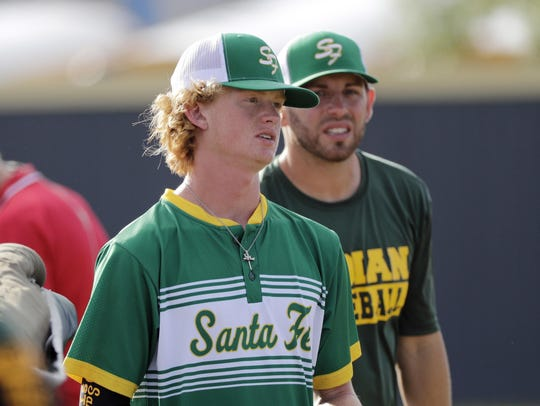 Santa Fe High School baseball player Rome Shubert waits