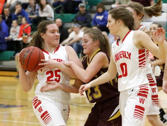 Waverly's Fallon Huck (25) and Whitney Point's Dani