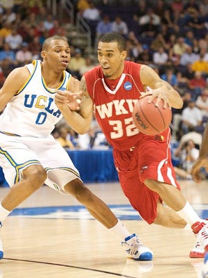 WKU's Courtney Lee drives on UCLA guard Russell Westbrook during the 2008 NCAA tournament Sweet Sixteen.