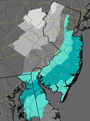 """The National Weather Service has issued this """"most likely"""" scenario for New Jersey. The snowfall accumulations represent the total amounts expected between Sunday night and Tuesday morning. These totals could change as the storm moves closer and the forecast is revised."""