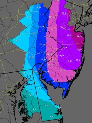The National Weather Service released its latest snow fall predictions on Sunday afternoon.