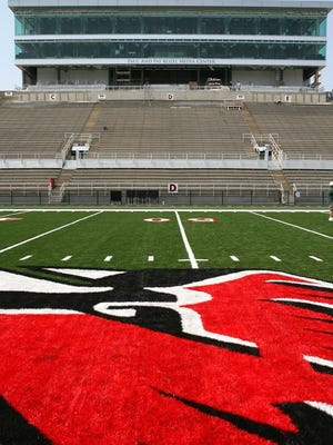 This is how the FieldTurf artificial grass at Ball State University's Scheumann Stadium looked when it was installed in 2007.