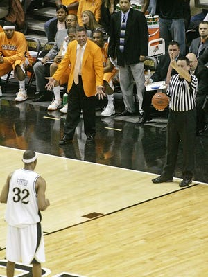 The unique baseline coaching box at Vanderbilt's Memorial Gym, seen here with Bruce Pearl, will be extended up the sideline next season.