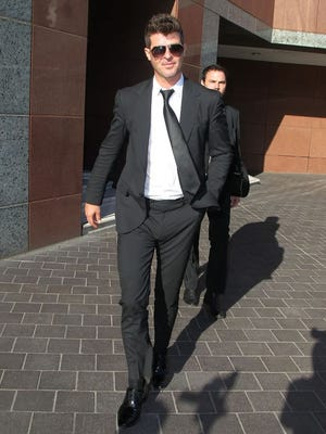 Musician Robin Thicke is seen outside the Roybal Federal Building on March 5, 2015 in Los Angeles, Calif.