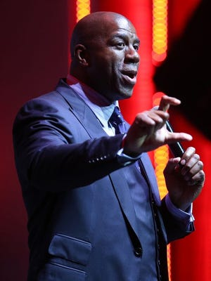 Magic Johnson talked to an audience at the Fuel Leadership Conference at the Sound Board in the Motor City Casino in Detroit on Monday.