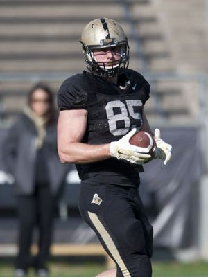 Purdue tight end Jordan Jurasevich at the April 11 jersey scrimmage at Ross-Ade Stadium.