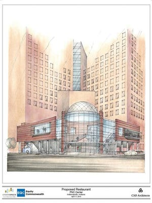 Artist's rendering of a proposed new, upscale restaurant at the PNC Center on the northwest corner of Illinois and Maryland streets Downtown. The exact restaurant has not yet been selected, but the building's owner, Equity Commonwealth, wants to renovate the corner of the building, which is now a loading dock and parking lot.