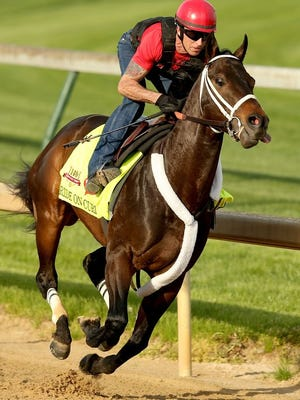 LOUISVILLE, KY - APRIL 27: Ride On Curlin is riden by Bryan Beccia during the morning exercise session in preparation for the140th Kentucky Derby at Churchill Downs on April 27, 2014 in Louisville, Kentucky. (Photo by Matthew Stockman/Getty Images)