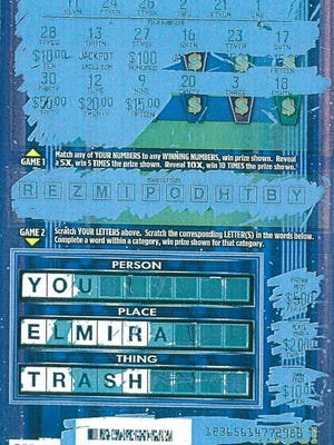 Elmira trash lottery ticket