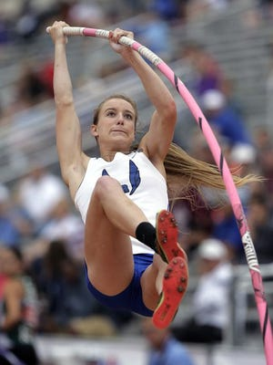 Emory Rains' Charlotte Brown, who is legally blind, competes in the Conference 4A girls pole vault competition at the UIL Texas State Track and Field Championships, Saturday, May 16, 2015, in Austin, Texas. Brown won a Bronze medal with her third place finish.
