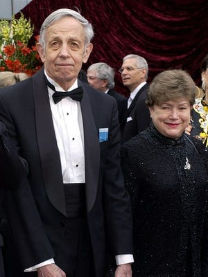 """John Nash, left, and his wife Alicia, arrive at the 74th annual Academy Awards, in Los Angeles on March 24, 2002. Nash, the Nobel Prize-winning mathematician whose struggle with schizophrenia was chronicled in the 2001 movie """"A Beautiful Mind,"""" died in a car crash along with his wife in New Jersey on Saturday, May 23, 2015, police said."""