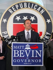 At the Lincoln Day Dinner in Lexington on Saturday, nominee for Governor Matt Bevin showed his support for U.S. Sen. Mitch McConnell in a video featuring his use of 'Team Mitch' shirts and stickers, as well as interactions with McConnell. Bevin is shown here during a press conference at the Republican Party of Kentucky Headquarters in Frankfort, KY.