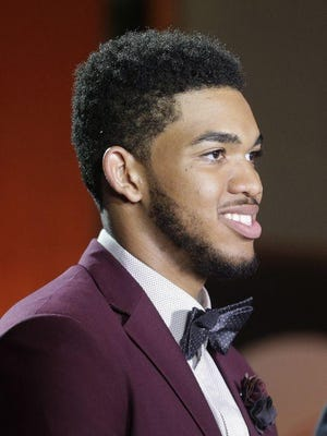 It will be hard for Karl Towns to top the purple tux he wore to the NBA Draft Lottery last month.