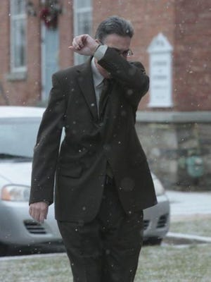 Michael Ware, of Eastchester, outside a Pennsylvania courthouse in January. He is expected to plead guilty in connection to a car crash that killed three teenagers lat summer.