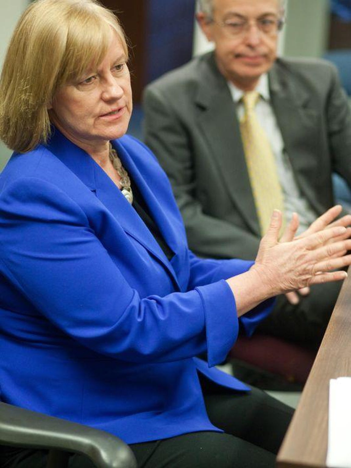 Kathleen MacRae, executive director of the American Civil Liberties Union in Delaware, speaks in a file photo. The ACLU and Community Legal Aid Society, Inc. announced today that it has filed a federal lawsuit against Delaware's prison system for holding at least 100 inmates with mental illnesses in solitary confinement.
