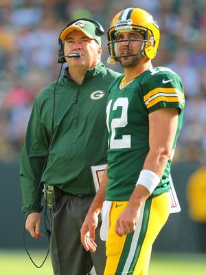 Packers coach Mike McCarthy and quarterback Aaron Rodgers.