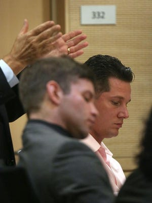 This photo shows Scott Bahls (left) and Wade Wheeler during their preliminary hearing last month in Banning. Both men are facing second-degree murder charges related to a fatal street race collision in Rancho Mirage.