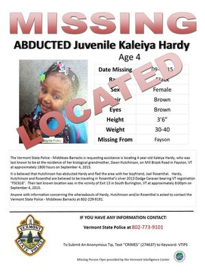 This flier was issued following an Amber Alert in Vermont early Saturday morning. (P