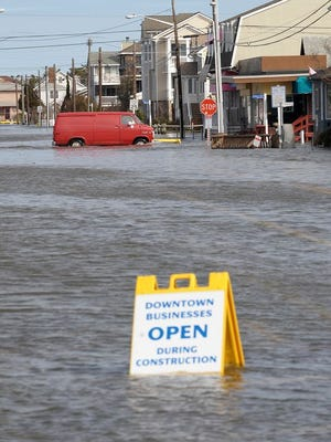 Roads were flooded and closed in Bethany Beach after Winter Storm Saturn pounded the Delaware coastal areas with wind, rain and flooding in 2013.