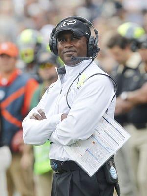 Purdue football coach Darrell Hazell