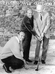 Arnold Palmer, Jack Nicklaus and Dwight Eisenhower stand on the future site of Eisenhower Medical Center in Rancho Mirage on Jan. 31, 1967.