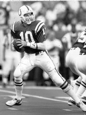 Jack Trudeau, shown here as a Colts quarterback in 1989, is tired of people coming down on Andrew Luck.