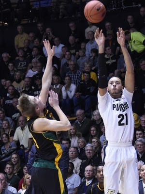 Purdue guard Kendall Stephens shoots against Vermont.