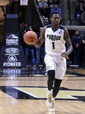 Purdue guard Johnny Hill (1) brings the ball down the court against Lehigh in the first half at Mackey Arena.