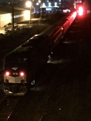 An Amtrak train struck a pedestrian in south Lansing at around 9 p.m. on Saturday.