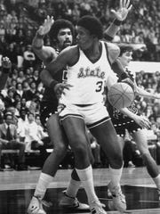Jay Vincent, a Lansing native, has his No. 31 jersey retired at MSU's Breslin Center. He was a member of the Spartans' 1979 national championship team.