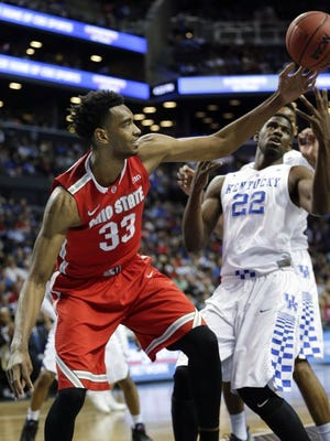 Ohio State's Keita Bates-Diop goes for the ball against Kentucky's Alex Poythress.