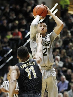 Purdue's Kendall Stephens takes a jump shot against Vanderbilt at Mackey Arena.