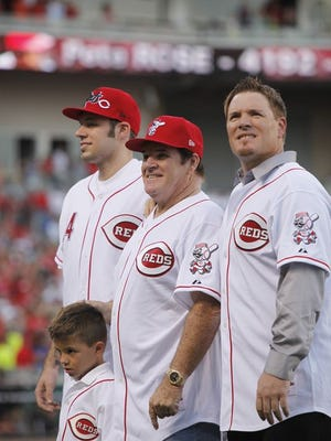 Pete Rose is introduced alongside members of his family, including Pete Jr. (right).