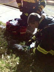 A firefighter uses a pet-sized oxygen mask to revive