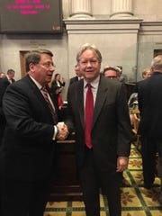Senate Majority Leader Mark Norris, left, congratulates Roger Page, who was named to the Supreme Court on Monday.