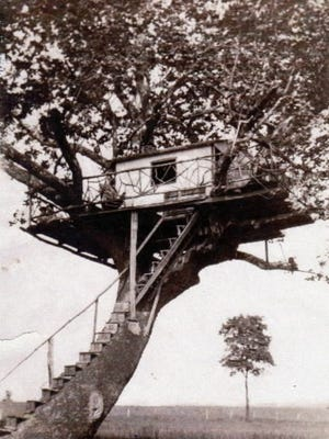 This is an unusual view of the Brook Leaf Love Nest, courtesy of York resident Dick Wilson. The honeymoon site, shown here in 1945, was constructed on the Howard Emig Farm in Hellam Township along Kreutz Creek. Two boys mugging for the photographer can be seen at the far left of the platform.