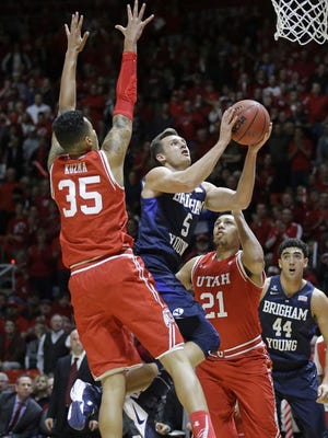 BYU forward Kyle Collinsworth was named the WCC Player of the Year. The Cougars will need to win the WCC title if it wants to go to the NCAA Tournament. The Runnin' Utes will finish the regular-season with a home game against Colorado. A win combined with an Oregon loss would give the Utes a share of the Pac-12 title.
