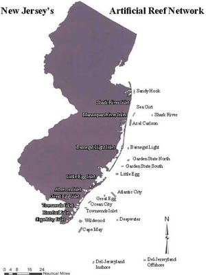 A map of the 15 artificial reefs off the coast of New Jersey.
