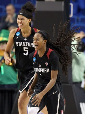 Stanford players celebrate upsetting top-seed Notre Dame on Friday night.